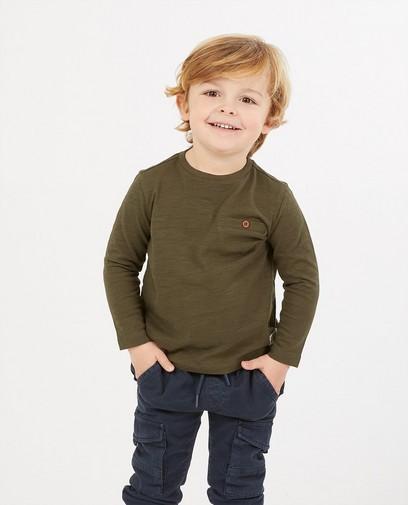 T-shirt vert à manches longues en coton bio