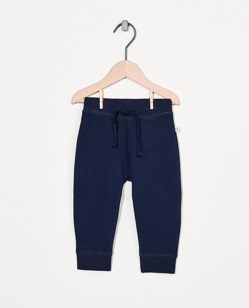 Pantalon molletonné bleu en coton bio - stretch - Cuddles and Smiles