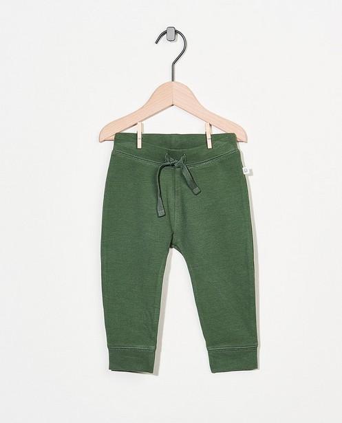 Pantalon molletonné vert en coton bio - stretch - Cuddles and Smiles