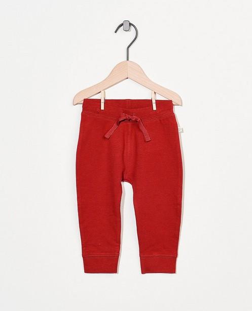 Pantalon molletonné rouge en coton bio - stretch - Cuddles and Smiles