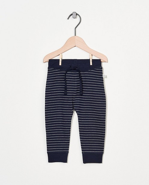 Pantalon molletonné bleu en coton bio - stretch - Cuddles and Smiles