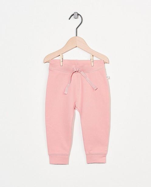 Pantalon molletonné rose en coton bio - stretch - Cuddles and Smiles