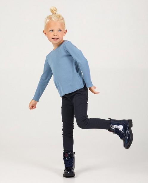 T-shirt bleu à manches longues avec relief côtelé - en viscose - Milla Star
