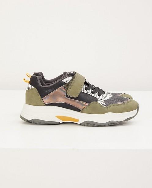 kakigroene sneakers, maat 33-38 - met glitter en print - Sprox