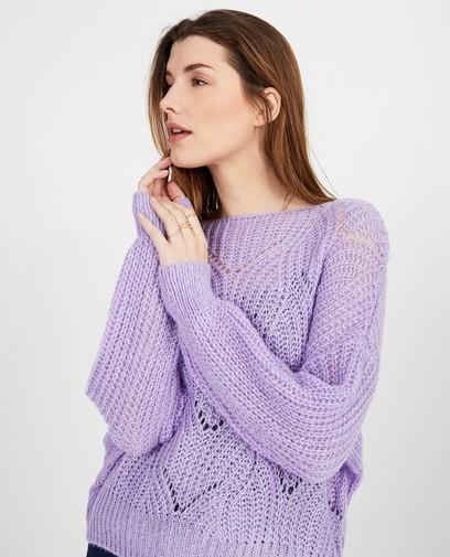 Paarse trui met ajourpatroon