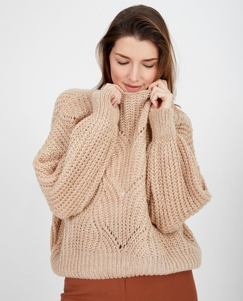 Truien - Beige trui met ajourpatroon