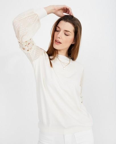 Witte trui met mouwdetail
