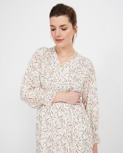 Witte maxi-jurk met print - allover bloemenprint - pari
