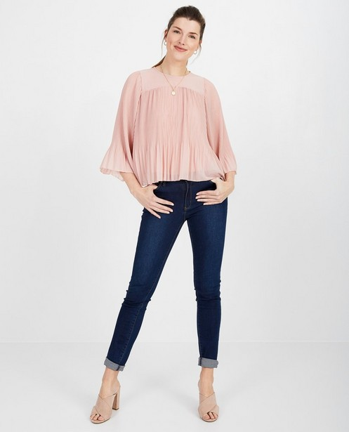 Roze blouse met plissé - losse fit - pari
