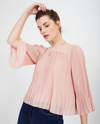 Roze blouse met plissé