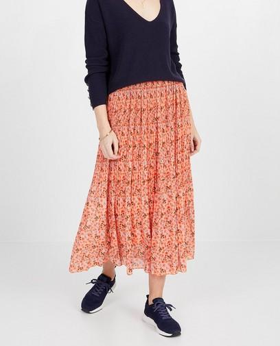 Oranje rok met bloemenprint