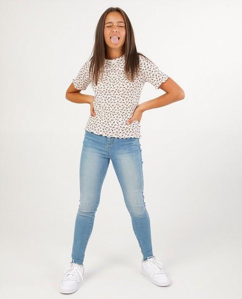Wit T-shirt met bloemenprint - allover - Groggy