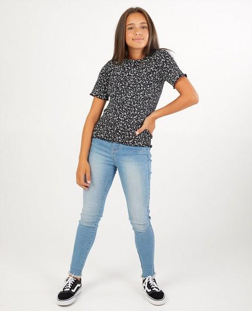 Zwart T-shirt met bloemenprint - allover - Groggy
