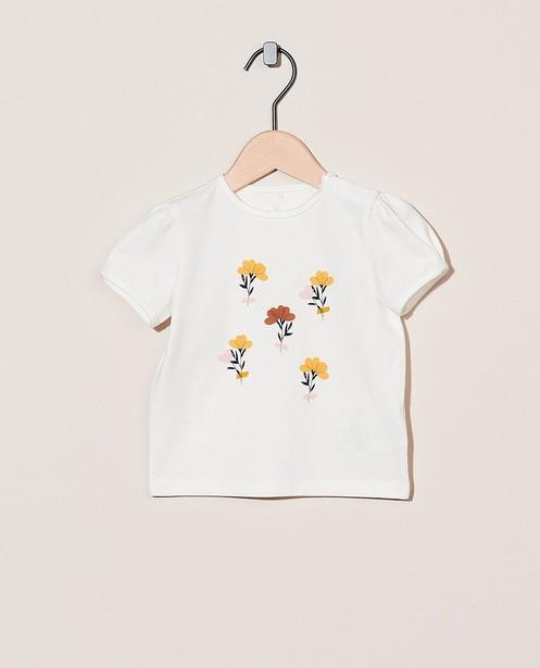 T-shirt blanc en coton bio - à petites fleurs - Cuddles and Smiles