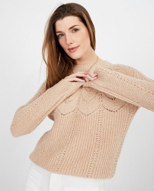 Truien - Beige trui met ajour
