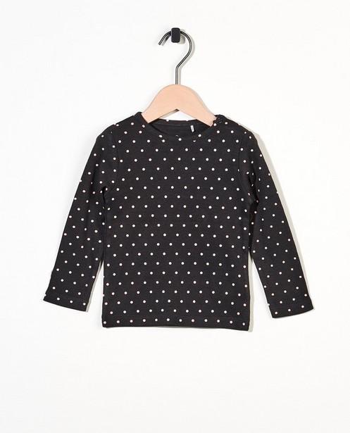 T-shirt à manches longues gris en coton bio - motif à pois intégral - Cuddles and Smiles
