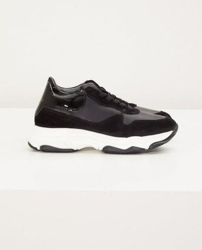 Lederen sneakers in zwart