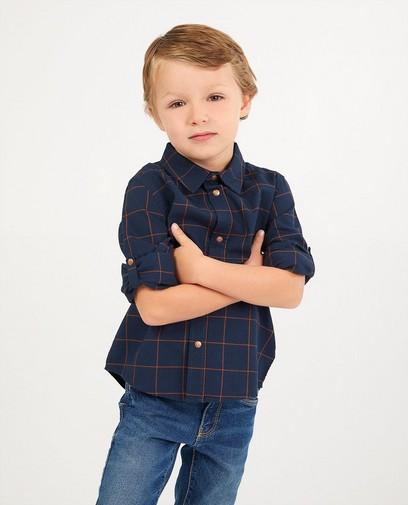 Chemise bleu foncé à carreaux
