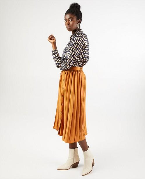 Jupe plissée jaune-brun Sora - avec rangée de boutons - Sora