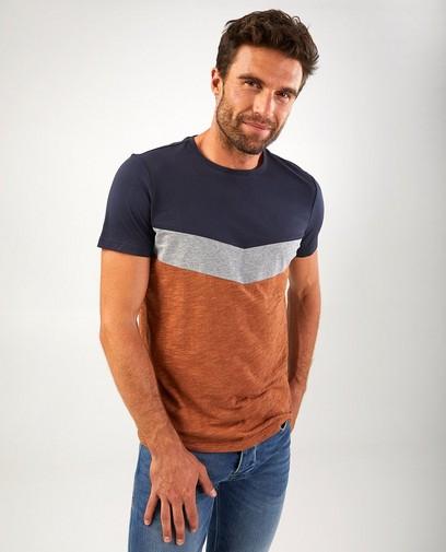 Color block-shirt van biokatoen