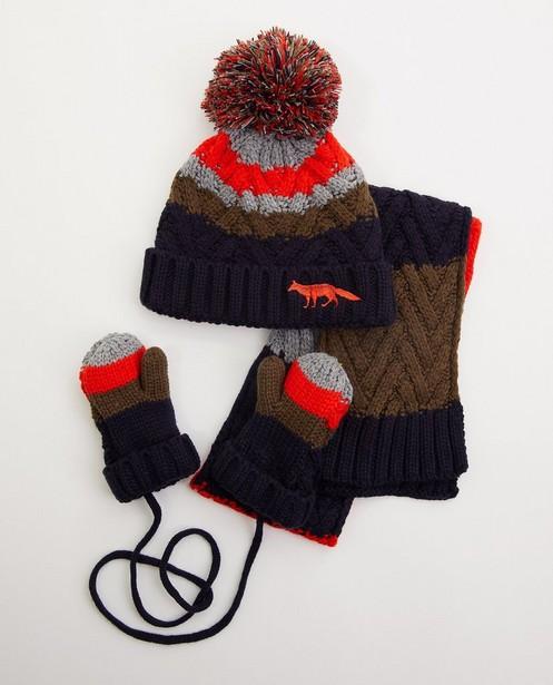 Ensemble bonnet, écharpe et moufles - tricoté - JBC