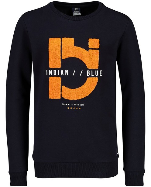 Blauwe sweater Indian Blue Jeans - met bouclé - Indian Blue
