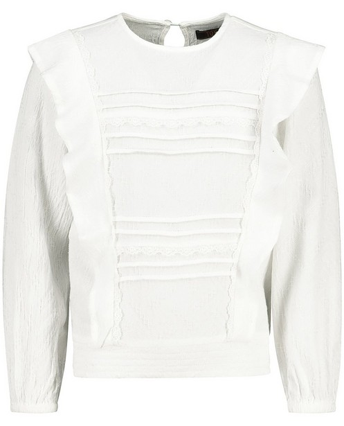 Blouse blanche avec de la dentelle Topitm - et motif en relief - Topitm