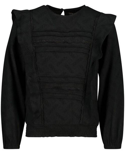 Zwarte blouse met kant Topitm - en reliëfpatroon - Topitm