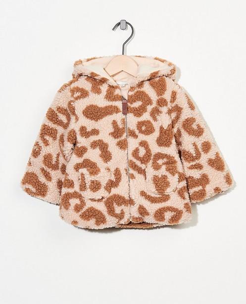 Beige teddy-jas met luipaardprint - allover - Cuddles and Smiles