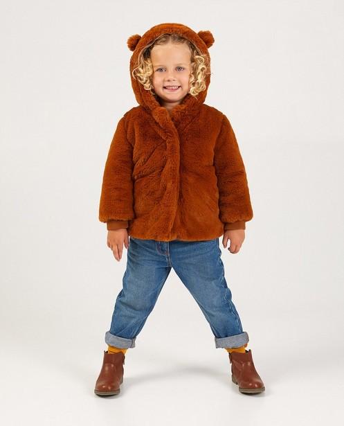 Manteau brun à petites oreilles - fausse fourrure - JBC
