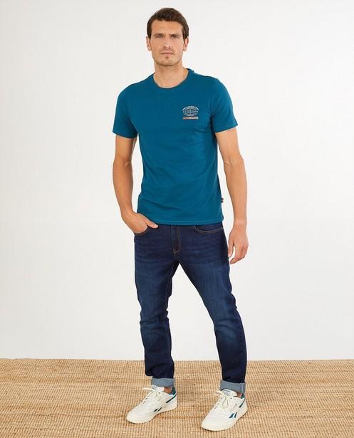 Blauw T-shirt van biokatoen I AM - met print - I AM