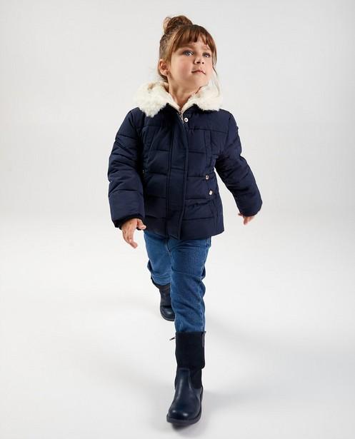 Manteau bleu foncé avec fausse fourrure - imperméable - JBC