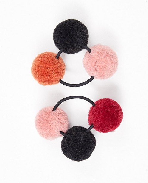 Strickware - Set von 2 Haargummis mit Bommeln