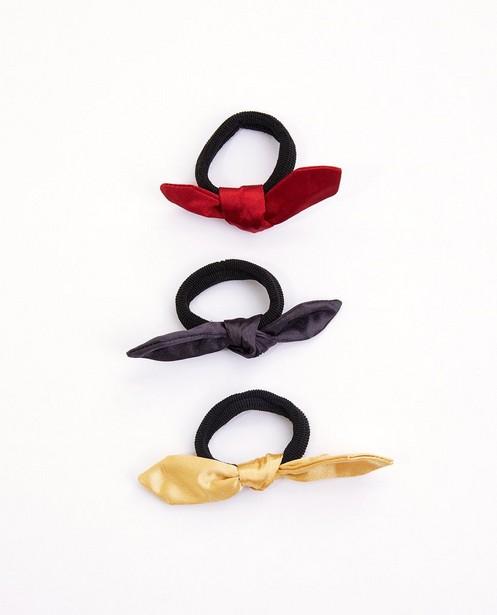Set van 3 elastiekjes met strik - blauw, geel en rood - Milla Star