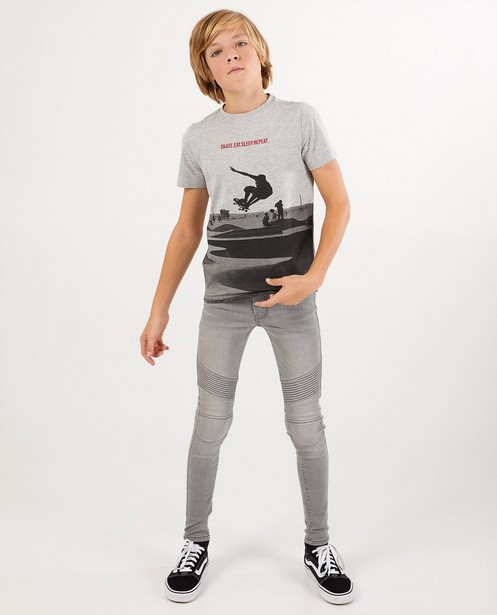 Grijze superskinny Noah, 7-14 jaar - verstelbare taille - Fish & Chips