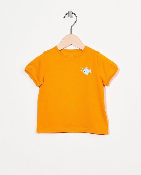 T-shirt orange en coton bio - avec un imprimé - Cuddles and Smiles