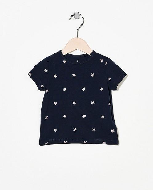 T-shirt bleu foncé en coton bio - avec un imprimé - Cuddles and Smiles