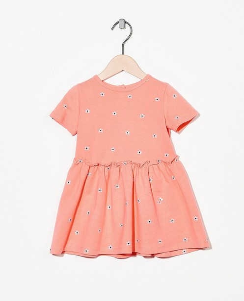 Roze jurk van biokatoen - met bloemenprint - Cuddles and Smiles