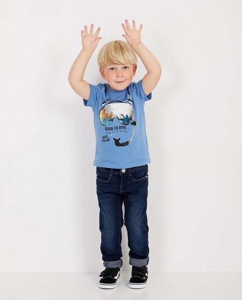 Blauw T-shirt met pailletten - op de borst - JBC