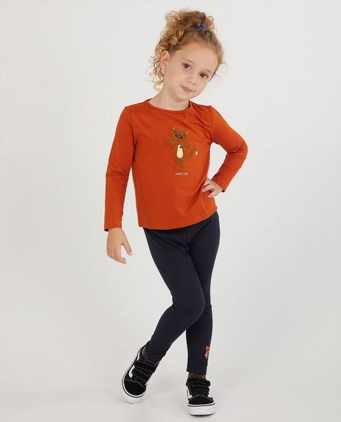 T-shirt orange à manches longues en coton bio - avec imprimé - Milla Star