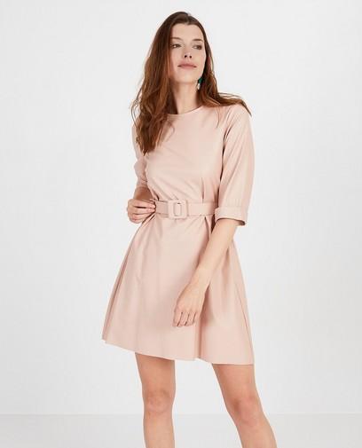 Roze jurk met lederlook Ella Italia