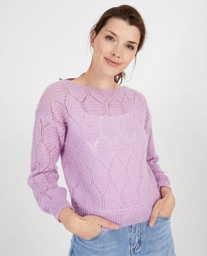 Lila trui met ajourpatroon