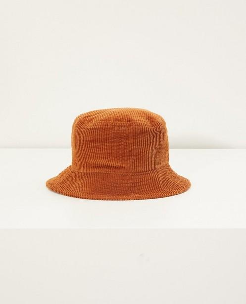 Chapeau brun en velours côtelé Pieces  - sur toute la surface - Pieces