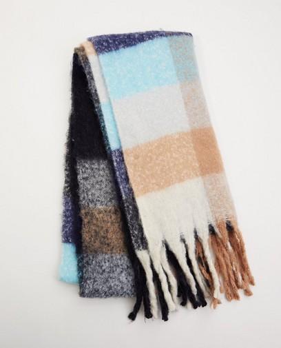 Blauwe sjaal met ruitpatroon Pieces