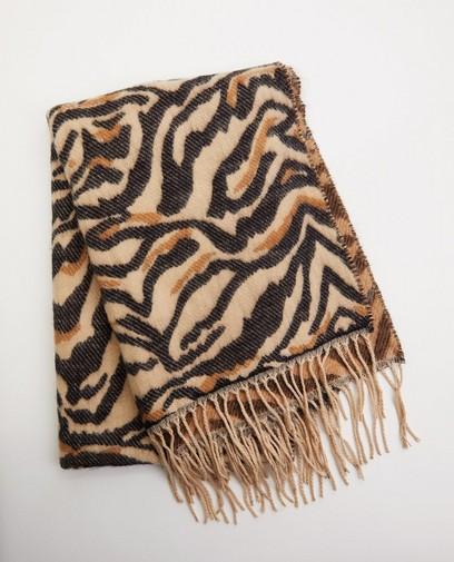 Bruine sjaal met print Pieces