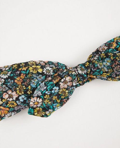 Schwarzes Haarband mit Blumenprint - durchgehend - Fish & Chips