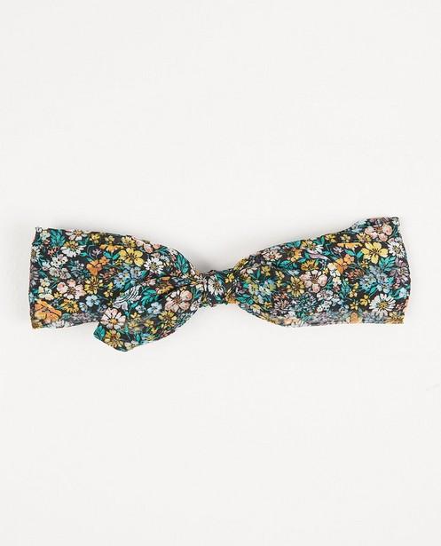Strickware - Schwarzes Haarband mit Blumenprint