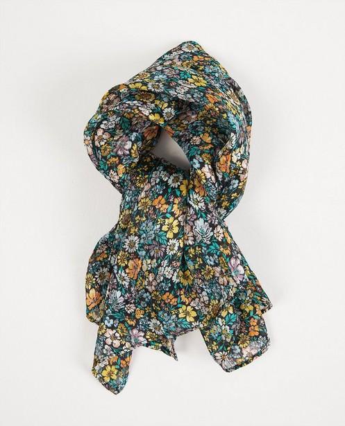 Schwarzer Schal mit Blumendruck - durchgehend - Fish & Chips