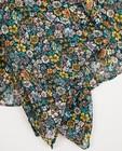 Strickware - Schwarzer Schal mit Blumendruck