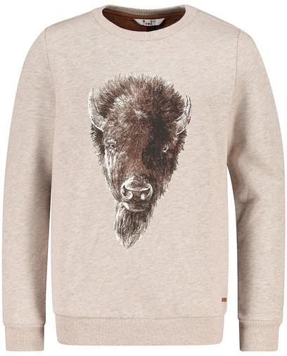 Beige sweater met bizonprint